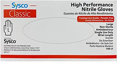 SYSCO HIGH Performance Nitrile Gloves Large Powder Free - Blue