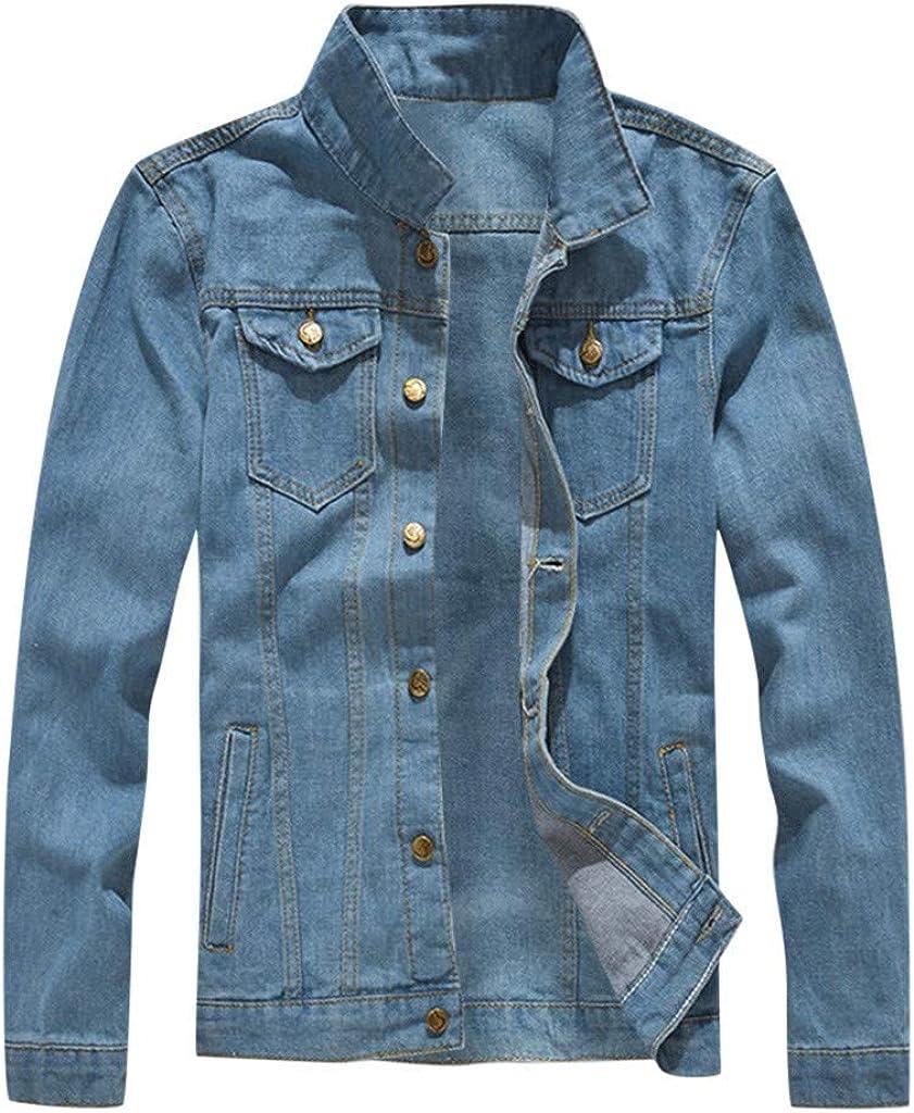 MODOQO Men's Denim Jacket Long Sleeve Turn-Down Collar Light Blue Jeans Coat