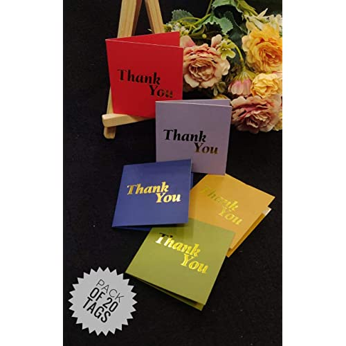 Satyam Kraft Paper Small Traditional Thank You Printed Gift Tag (Pack of 20, 6.5 cm x 0.2 cm x 6.5 cm)