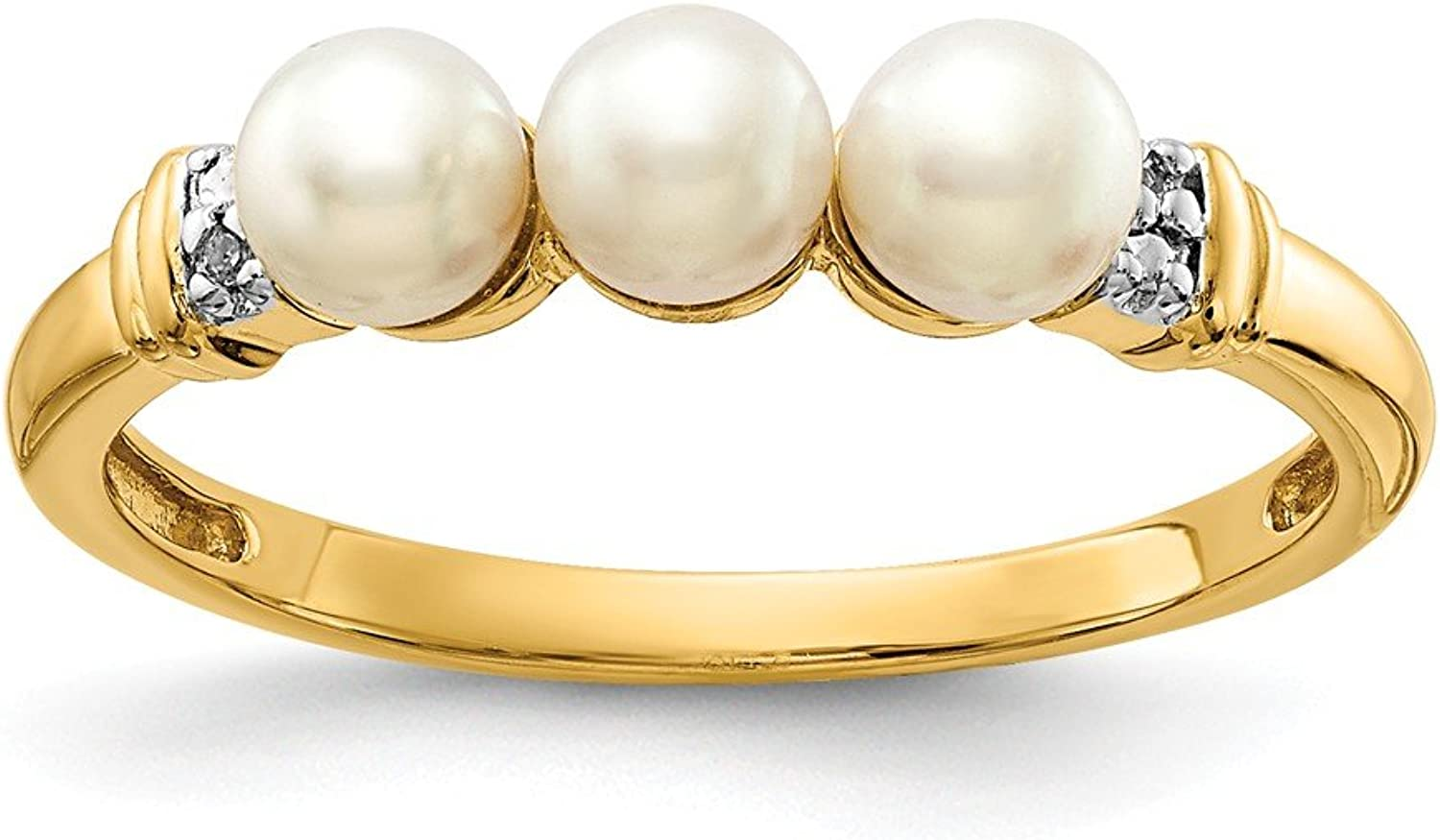 14k Diamond and FW Cultured Pearl Ring   Diamond Ctw. 0.01