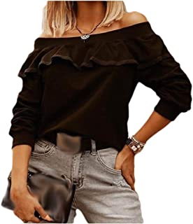 Comaba Women Blouse Pure Color Ruffle Long-Sleeve Off The Shoulder Tees Shirt