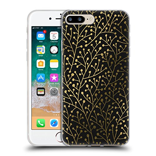 Head Case Designs Oficial Cat Coquillette Berry Ramas Oro Negro Patrones 3 Carcasa de Gel de Silicona Compatible con Apple iPhone 7 Plus/iPhone 8 Plus