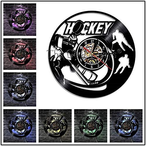 Hockey Man Cave Reloj de Pared con Disco de Vinilo Logotipo del...