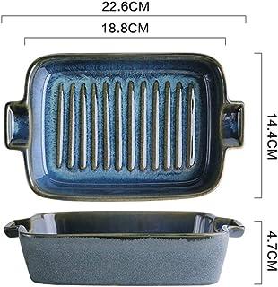 Nwn Star Kiln Glazed Ceramic Binaural Baking Dish Household Dish Baking Bowl Risotto (Color : D)