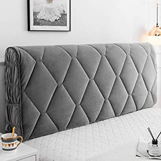 Homepingnew Velvet Dustproof Bed Headboard Cover Slipcover Protector Solid Color with Quilted Bed Head Cover for Queen Full California King Size Beds (Grey, Queen (59