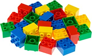 Strictly Briks Big Briks Building Brick Set 100% Compatible with All Major Brands | 1 Large Block Size Set for Ages 3+ | Creative Play STEM Toy | 2x2 Big Briks in Red, Green, Blue Yellow | 24 Pieces
