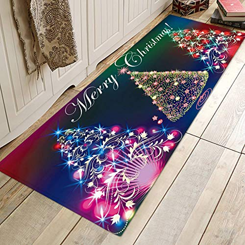 Oyalaiy Thicken Home Decor Ornament Soft Cartoon Xmas Festival Christmas Carpet Non-Slip Bath Mat Comfortable Mat Floor Rug - 40 * 120cm Christmas Tree
