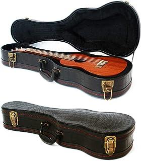 """Concert Ukulele Case, 23""""/24"""" Hard Case, Crocodile Pattern Leather Bulgy Surface with Plush Interior Wooden Case (Black)"""