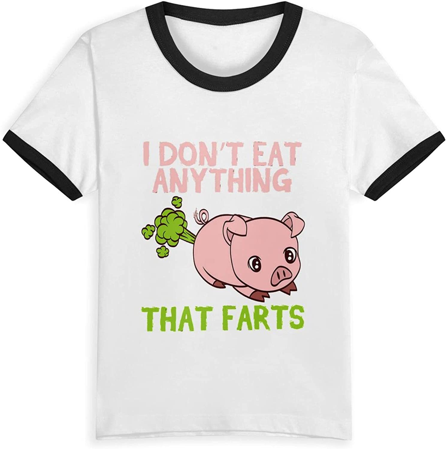 Funny Pig I Dont Eat Anything That Farts T-Shirts Novelty for Kids Tees with Cool Designs