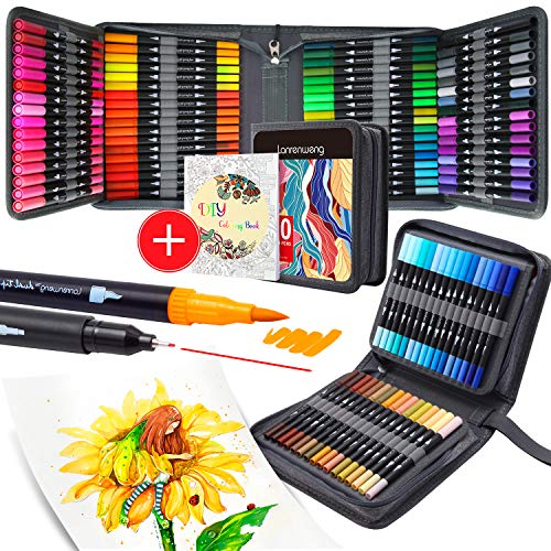 100 Colors Dual Tip Brush Pens Fineliners Art Markers, Watercolor Marker and Highlighters with Canvas Bag for Adult Coloring Books Drawing Sketching Bullet Journal Calligraphy