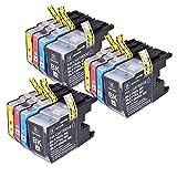 PerfectPrint - 12 cartuchos de tinta LC-1280 de impresora compatible para Brother MFC-J280W MFC-J425W MFC-J430W MFC-J435W MFC-J5910DW MFC-J625DW MFC-J6510DW MFC-J6710DW MFC-J6910DW MFC-J825DW MFC-J835DW DCP-J525W DCP-J725DW DCP-J925DW