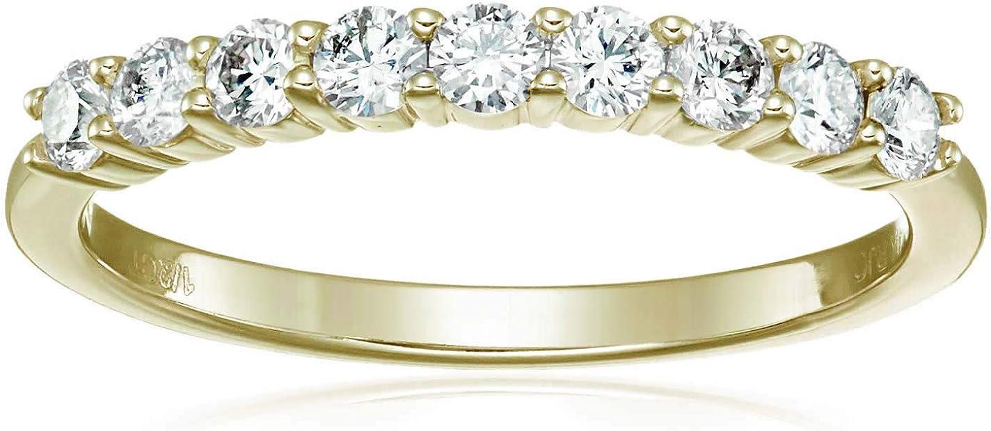 Vir Jewels 1/2 cttw Diamond Wedding Band 14K Yellow Gold 9 Stones Prong Set Round