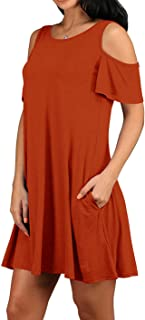 TWKIOUE Women Casual Dress Cold Shoulder Tunic Top Dress with Pockets