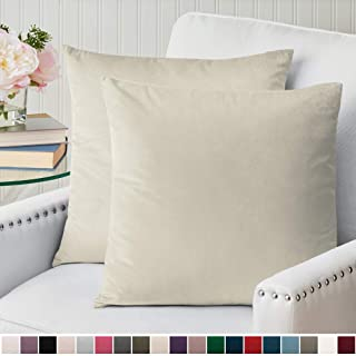 The Connecticut Home Company Luxurious Velvet Throw Pillow Cases, Set of 2 Decorative Case Sets, Square Pillow Covers, Soft Pillowcases for Living Room, Bedroom, Couch, Sofa, Bed, 18x18, Beige
