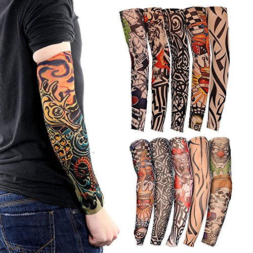 Tattoo Arm Sleeves, 10 Pack Cool Body Arts Fake Temporary Tattoo Cover Halloween Costume UV Sun Block Protection for Camping Hiking Exercise Sports Golf Riding Bike Outdoor,Random Color