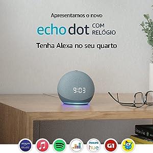 Echo Dot (4ª geração): Smart Speaker com Relógio e Alexa - Cor Azul