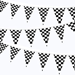 LEVOSHUA 100ft Checkered Black and White Flags Racing Pennant Flag Banners for Kids Nascar Race Car Party Decor