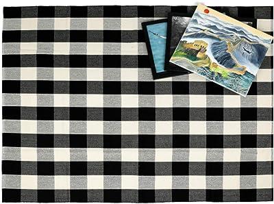 Winwinplus 100% Cotton Plaid Rug Black/White Hand-Woven,Buffalo Checkered Rug Washable Rag Throw Rugs 59''x78.8''