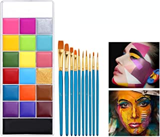 VERONNI 20 Color Face Body Paint Oil Kit with 10 Artist Brushes- Large Pan Black & White, Non Toxic SFX Makeup Palette,Hyp...
