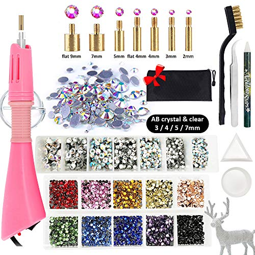 Hotfix Rhinestone Setter, Hot-fix Applicator Tool Kit, Hot Fix Wand, 3720 Pcs, AB Crystal, Clear, 10 Colors, 7 Tips, Manual, Tweezers, Jewel Picker, Stand, Brush, Trays, Zip Bag, 4 Gem Sizes