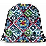 Medsforu Mochila con Cordón Bolsa Deportiva para Hombres Y Mujeres Granny Square Seamless Pattern Crochet Fondos Texturas Beauty Fashion