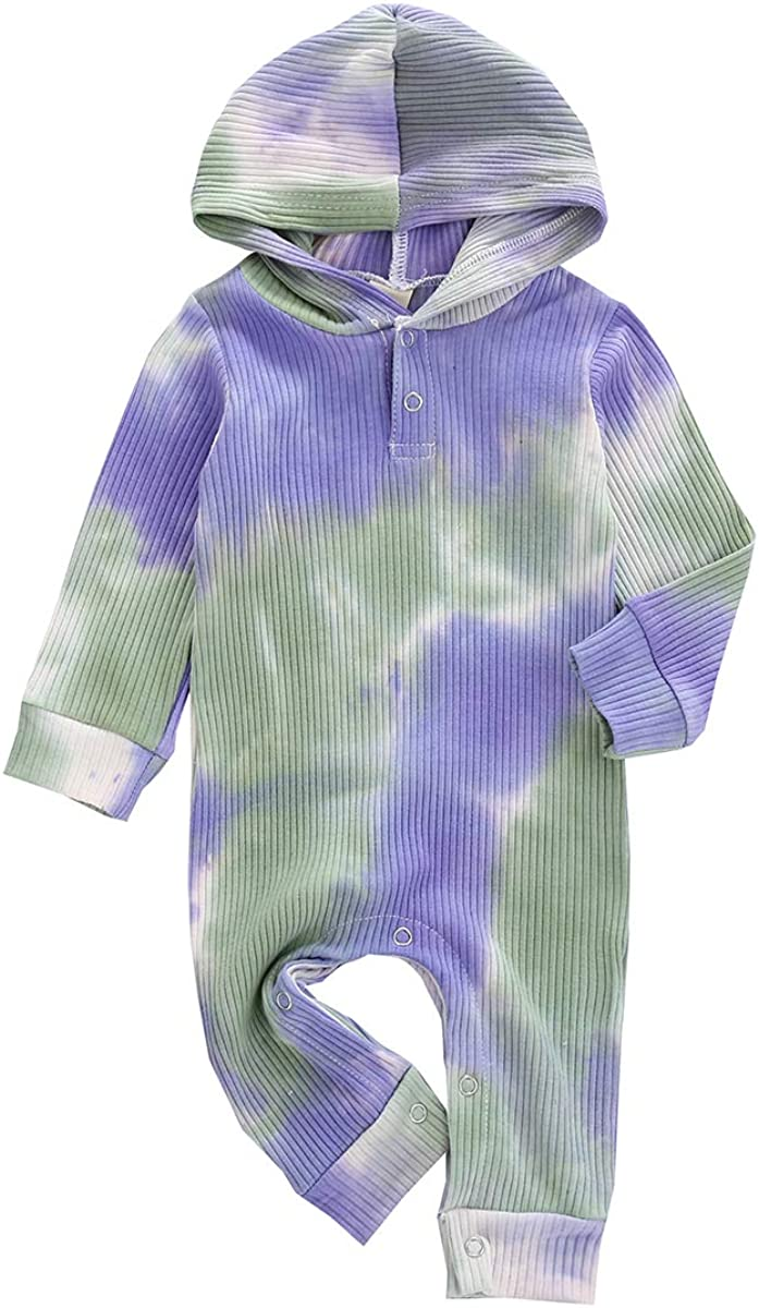 FIOMVA Newborn Baby Girl Boy Tie Dye Hooded Jumpsuit Ribbed Long Sleeve Romper Bodysuit One Piece Pajamas Set 0-12M