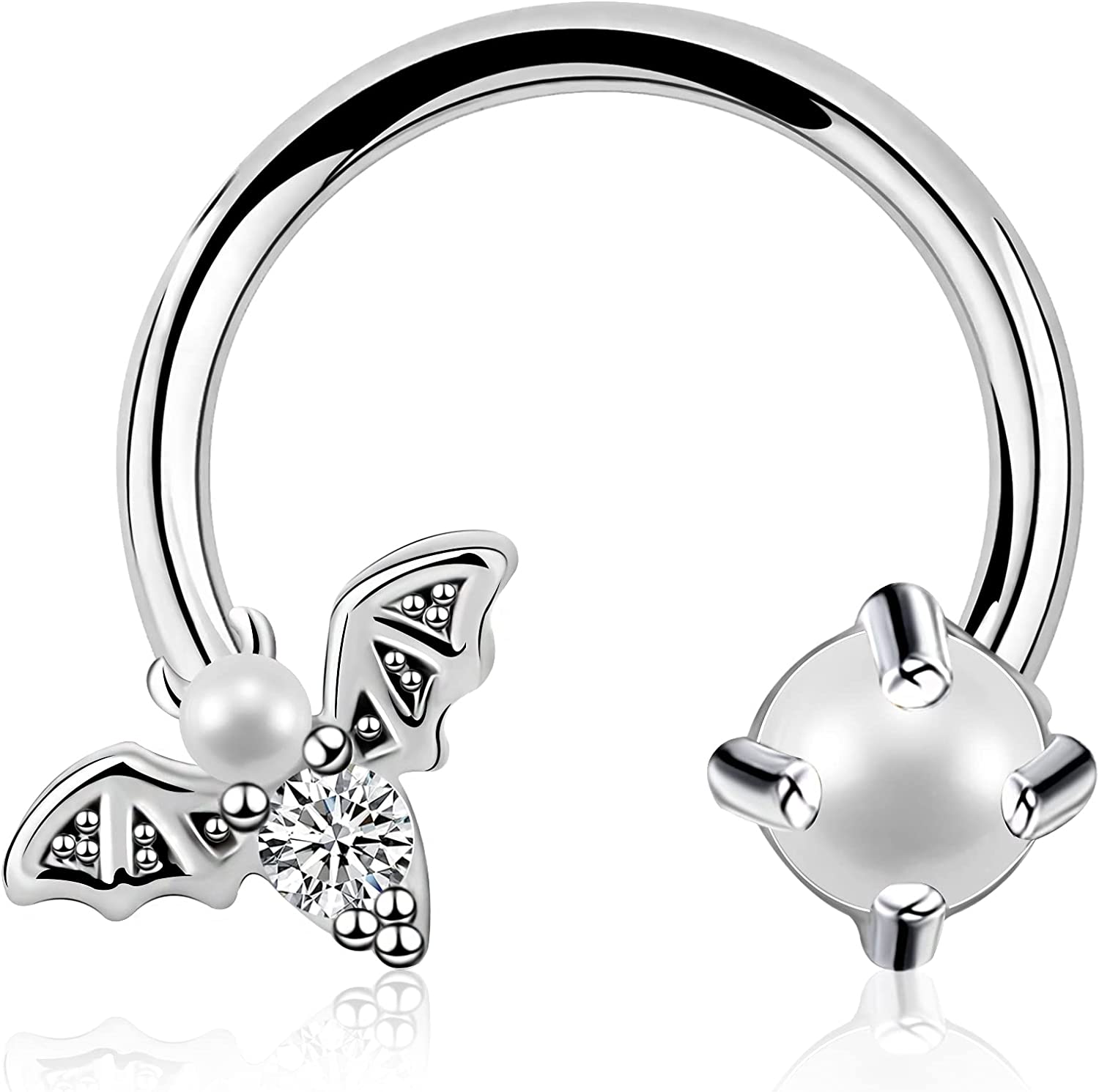 JEWSEEN Bat Septum Ring 16g Captive Bead Ring 316L Stainless Steel Daith Earring Trsgus Earring Body Piercing Jewelry for Halloween Day