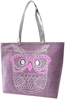 Wultia - Bags for WAMEN 2019 Fashion Fashion Lady Owl Shopping Handbag Shoulder Canvas Bag Tote Purse Bolsa Feminina Purple