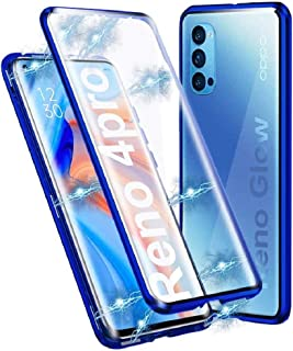 Case for Oppo Reno4 Pro 5G Cover Magnetic Adsorption Shock-Absorbing Metal Bumper Frame Transparent Tempered Glass Full Bo...