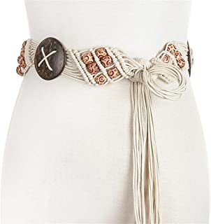 SGJFZD New Ethnic Wind Wax Rope Woven Handmade Belt Waist Chain Fashionable Dress Accessories Coconut Shell Skirt (Color : Beige, Size : 100-135CM)