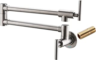 Havin A203 Pot Filler Faucet Wall Mount,Brushed Nickel,With Double Joint Swing Arms,Single Hole Two Handles (Pot filler Style A-Brushed Nickel)