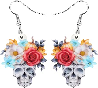 NEWEI Acrylic Halloween Flower Skull Skeleton Earrings Drop Dangle Fun Jewelry For Women Girls Kids Charm Gifts