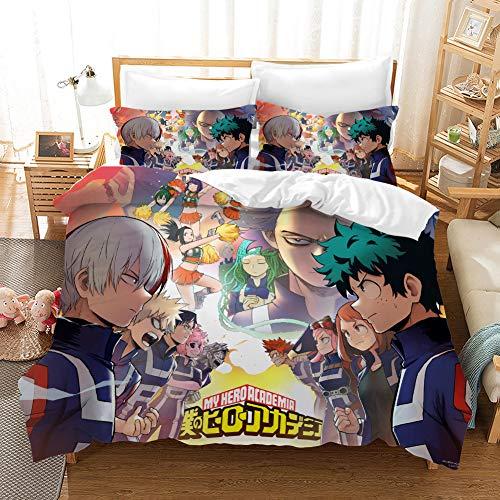 PTNQAZ Anime My Hero Academia Juego de ropa de cama para niños y niños, fundas de edredón con fundas de almohada para el hogar, decoración textil ropa de cama para niños (sin sábanas) (Super King)