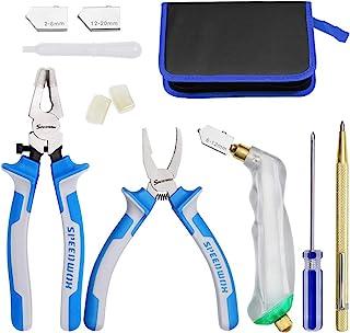 SPEEDWOX Kit de 12 outils de coupe de verre très résistants avec pince coupante pour verre et huile avec 3 tailles de tête...