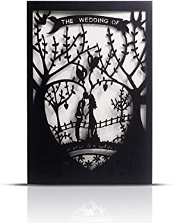 Laser Cut Printable Wedding Invitation Kits - 25pcs 4.7'' x 7''Black Love Tree Wedding Invitations Cards with Printable Paper and Envelopes for Engagement Marriage Bridal Shower Anniversary