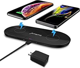 Wireless Charger for Multiple Devices, ZealSound 10W Fast Triple Dual Wireless Charging Pad Quick QC 3.0 Adapter Included Station Dock with USB Charge Port for Qi Enabled Phones and New AirPods(Black)