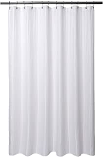 Barossa Design Fabric Shower Curtain 80 inches Long, Hotel Grade, Machine Washable, Water Repellent, 160 GSM Heavyweight, White Stripe Damask, 71x80
