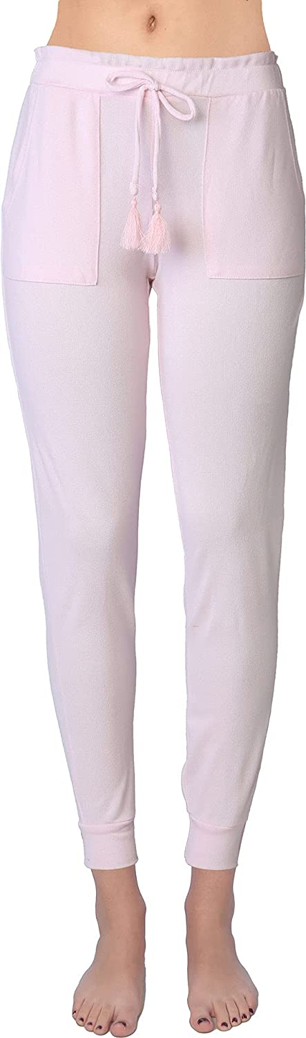 Active Club Women's Soft Pants - Lightweight Jogger Sweatpants - Cuffed Leggings with Side Pockets and Drawstring Closure