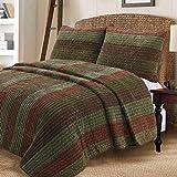Cozy Line Home Fashions Rhett Dark Brown Sage Green Bold Striped Reversible Quilt Bedding Set, Coverlet, Bedspread Set (Brown/Sage, Queen - 3 Piece)