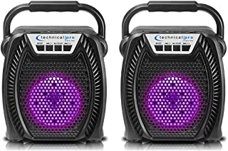 $37 » Sponsored Ad - (Qty 2) Technical Pro Portable Rechargeable LED Bluetooth Speaker with USB, SD Card, FM Radio, 4-inch Woofe...