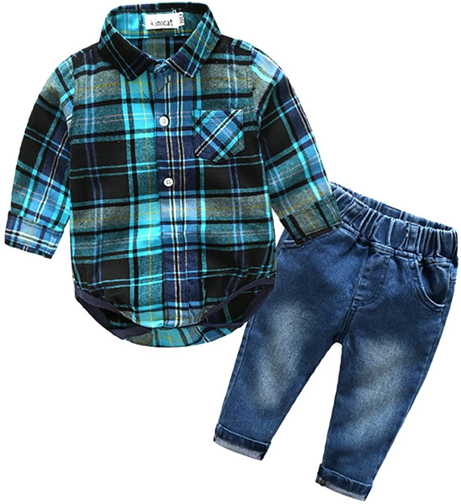 Baby Boys Clothing Set Casual Suit for Toddler Boy Long Sleeve and Denim Pants