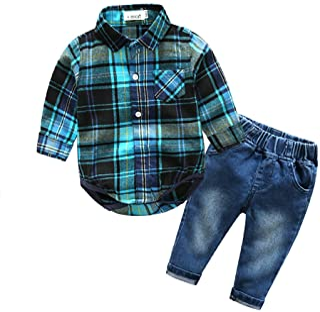 Kimocat Baby Boys Clothing Set Fashion Casual Suit Long Sleeve and Denim Pants