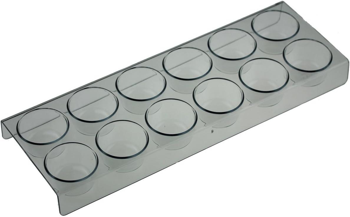 Huevera para 12 huevos apto para frigorífico Gorenje. Longitud: 28 cm, ancho: 10 cm, altura: 2,5 cm, diámetro del compartimento para huevos: 4 cm.