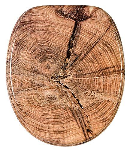 Abattant WC - Finition de haute qualité - Charnières robustes - Fixation facile - Vieil arbre