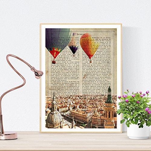 Nacnic Lámina Ciudad de Zaragoza Estilo Vintage. Ilustración, fotografía y Collage con la Historia de Zaragoza....