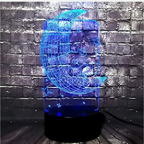 WCSMQT 3D LED illusion Lampe Karikatur-Bier-Schlaf auf Mond USB 7 Farben die das Kind schlafen warmes Stern-Nachtlicht-Schlafzimmer-Dekor-Kind-Geschenk ändern Lampe