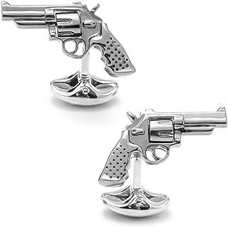 Deakin and Francis Men's Revolver Cufflinks - Silver