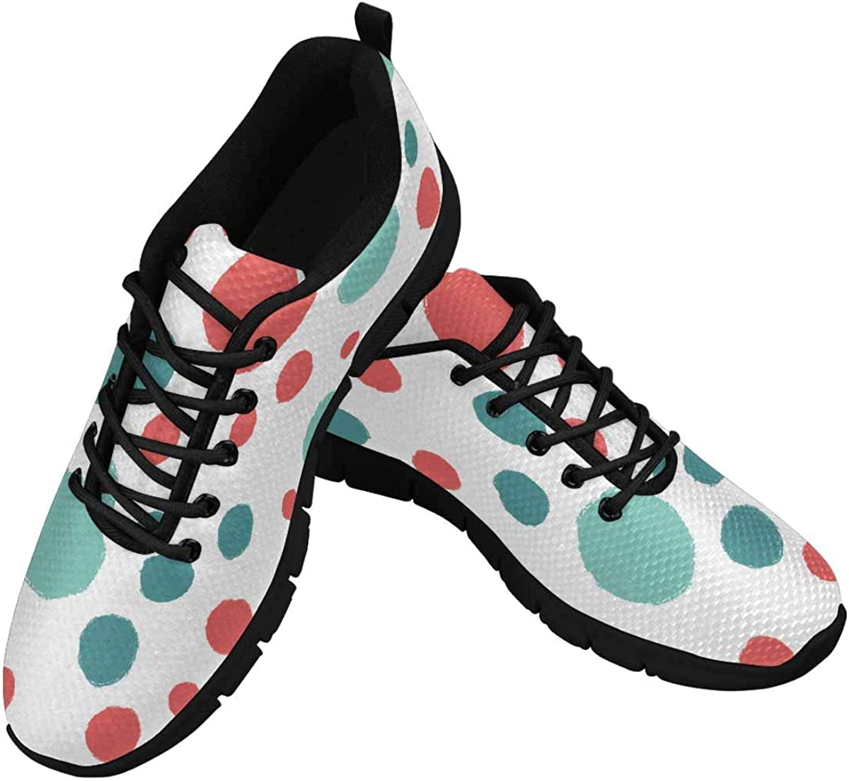 INTERESTPRINT Bright Polka Dots Background Women's Athletic Mesh Breathable Casual Sneakers Fashion Tennis Shoes