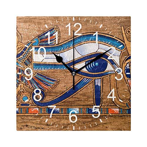 XiangHeFu Reloj de Pared, Cuadrado, 8 x 8 Pulgadas, silencioso-Egipcio, Ojo de Horus, Decorativo para el hogar, la Escuela, la Oficina