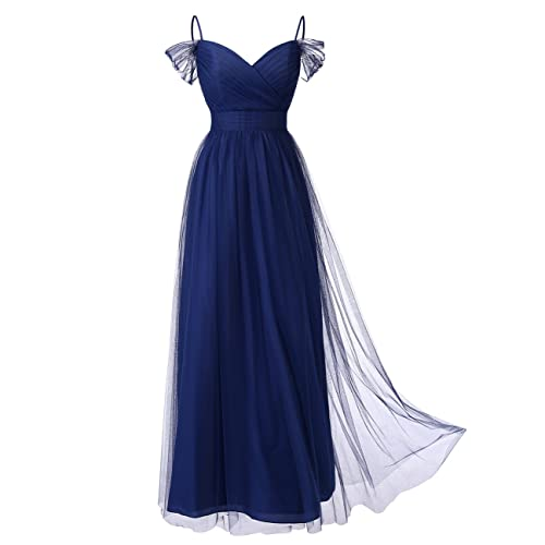 4e413aeab6 DRESSTELLS Long Prom Dress Tulle Off Shoulder Bridesmaid Dress with Pleat